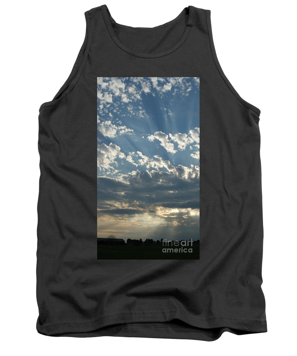 Sky Tank Top featuring the photograph Sun Rays Through The Clouds  # by Rob Luzier