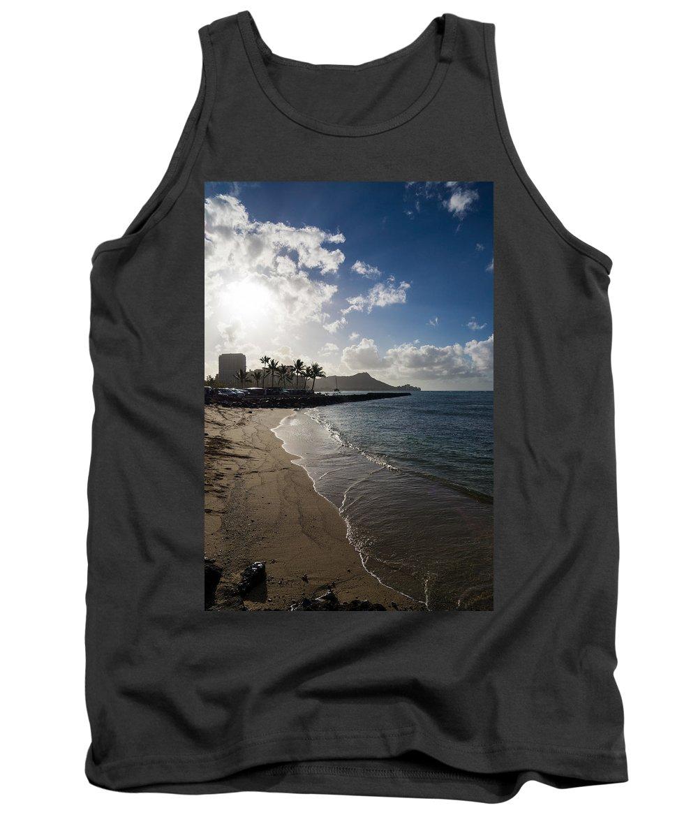Waikiki Tank Top featuring the photograph Sun Sand And Waves - Waikiki Honolulu Hawaii by Georgia Mizuleva