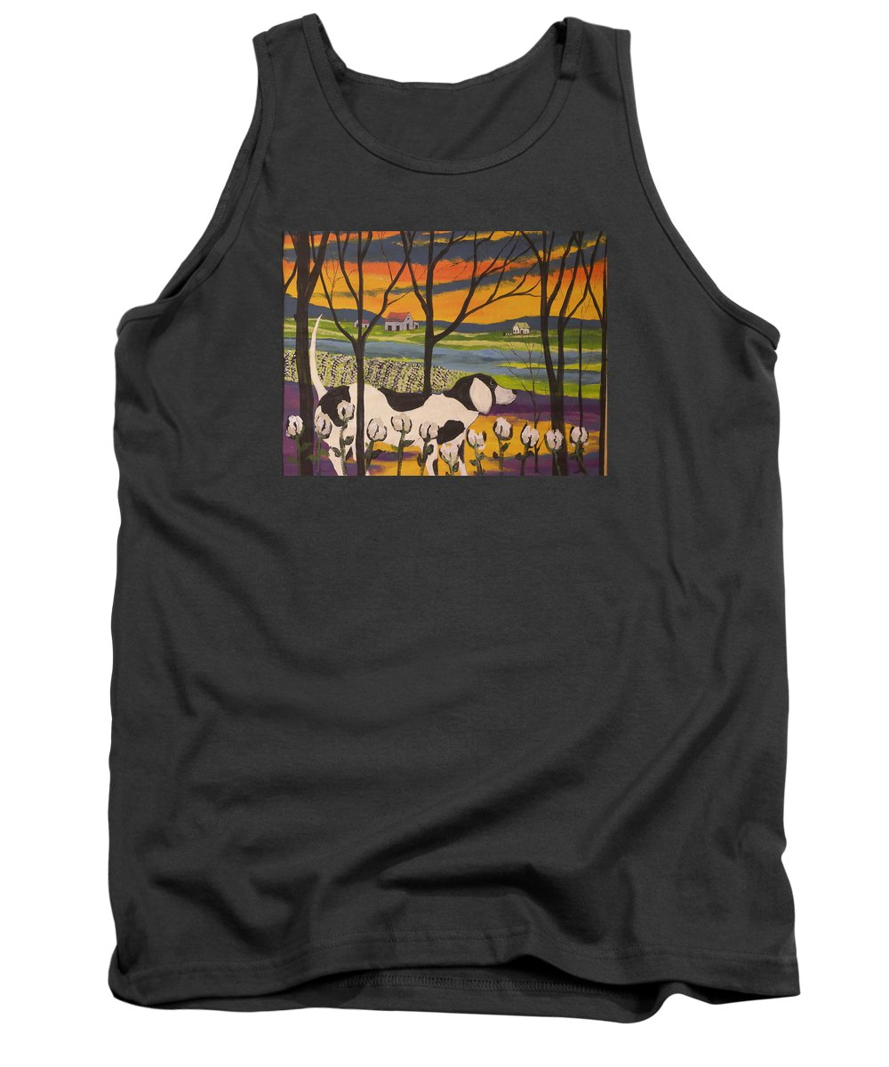 Landscape Tank Top featuring the painting Sundown by Ken Blacktop Gentle
