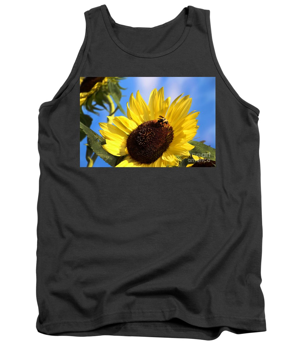 Sunflower Tank Top featuring the photograph Sunflower And Bee-3879 by Gary Gingrich Galleries