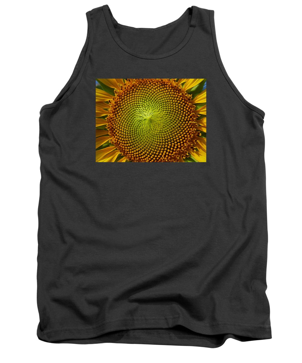 The Living Garden Tank Top featuring the photograph Sunflower by Barry Olsen