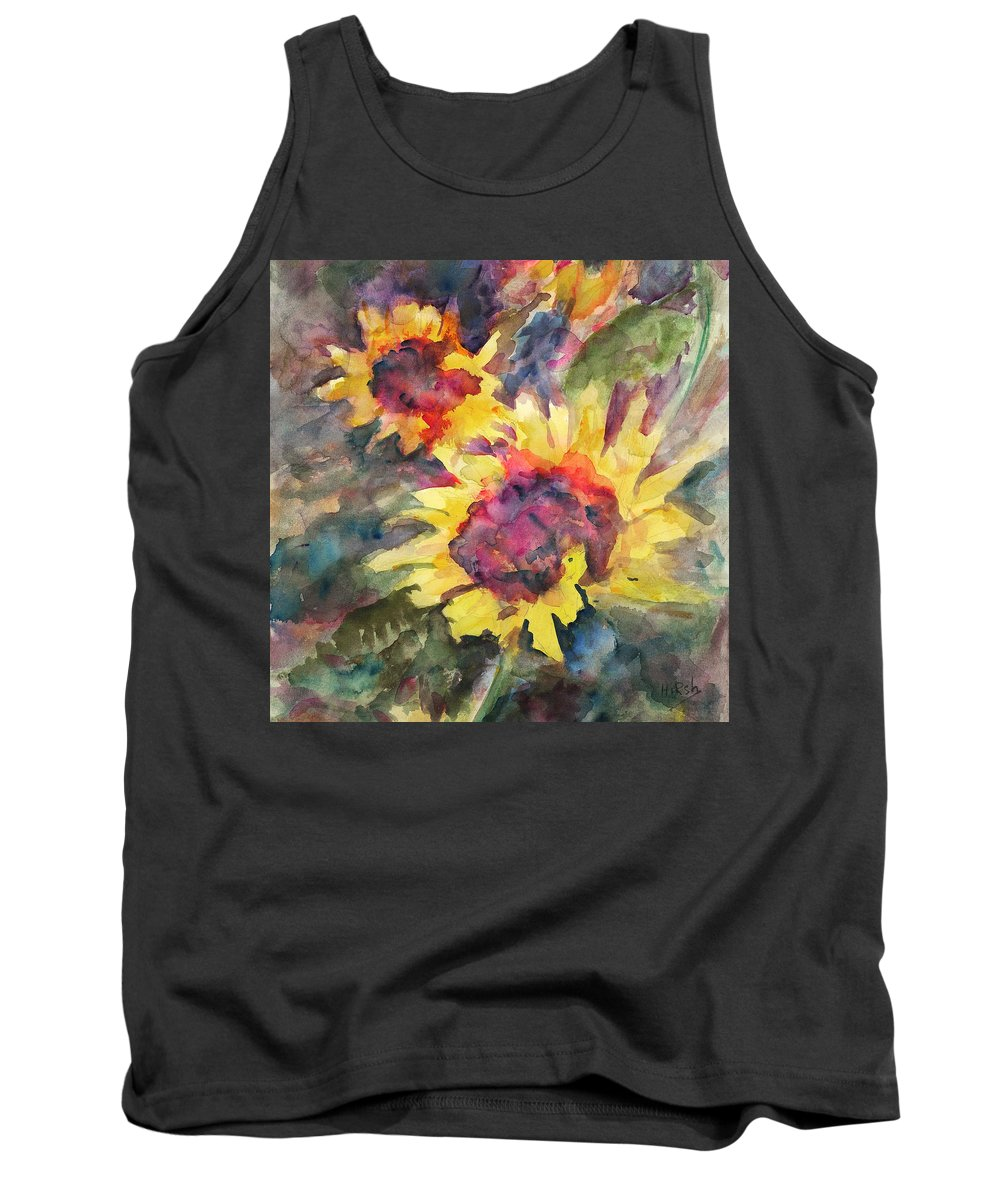 Sunflowers Tank Top featuring the painting Sunflowers by Cathy Hirsh