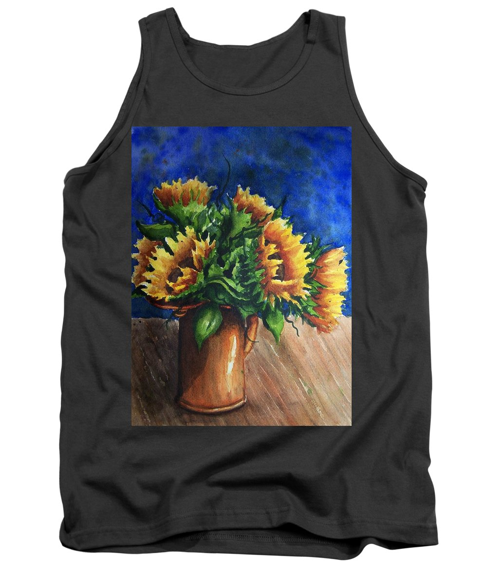 Sunflowers Tank Top featuring the painting Sunflowers In Copper by Conni Reinecke