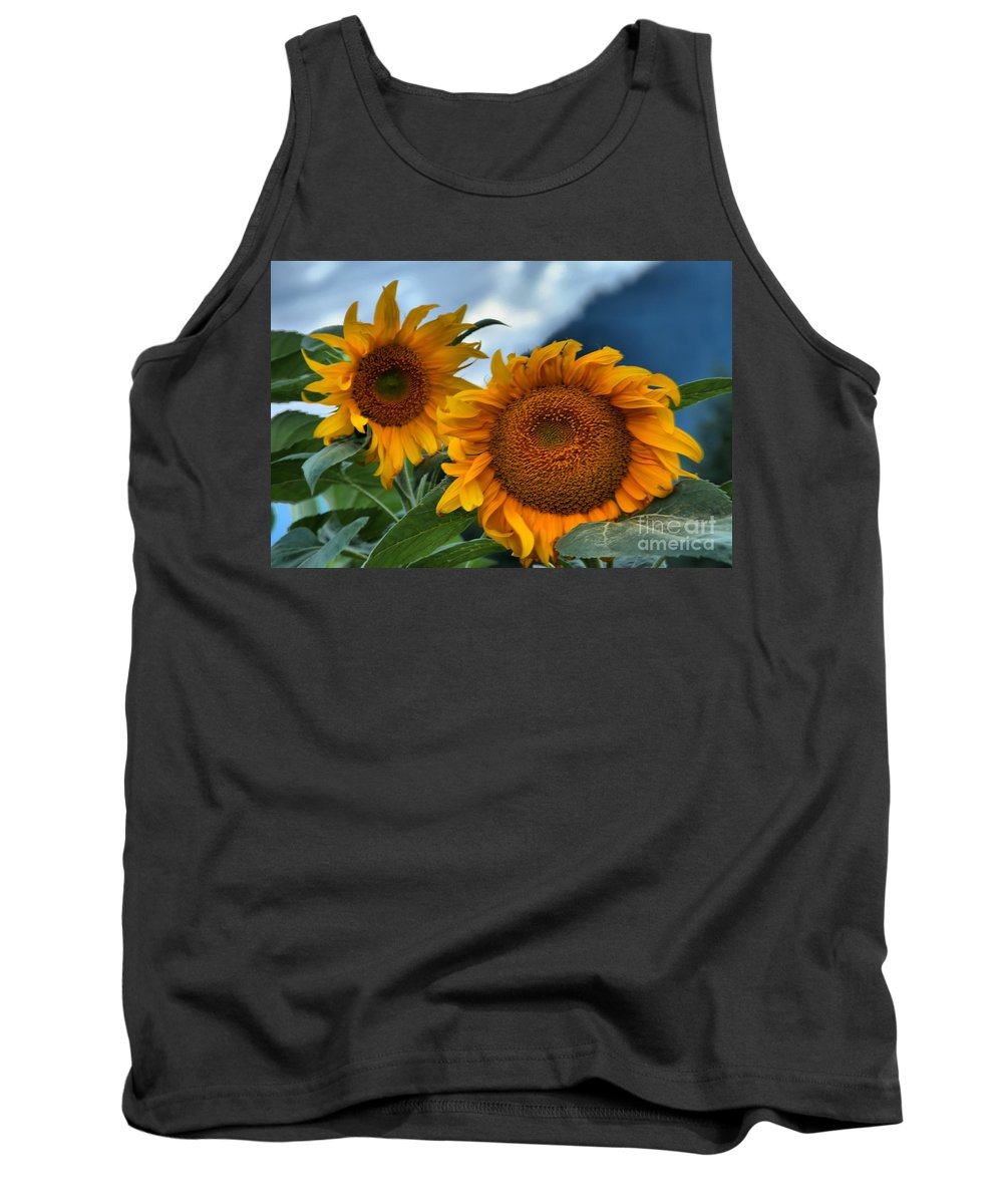 Sunflowers Tank Top featuring the photograph Sunflowers In The Wind by Adam Jewell