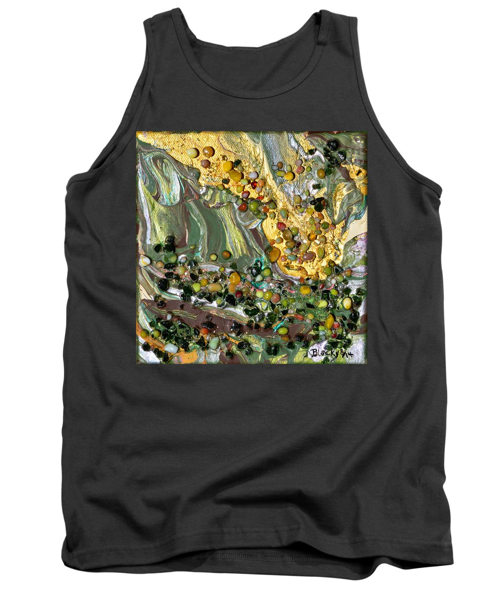 Modern Tank Top featuring the mixed media Sunlit Marsh by Donna Blackhall
