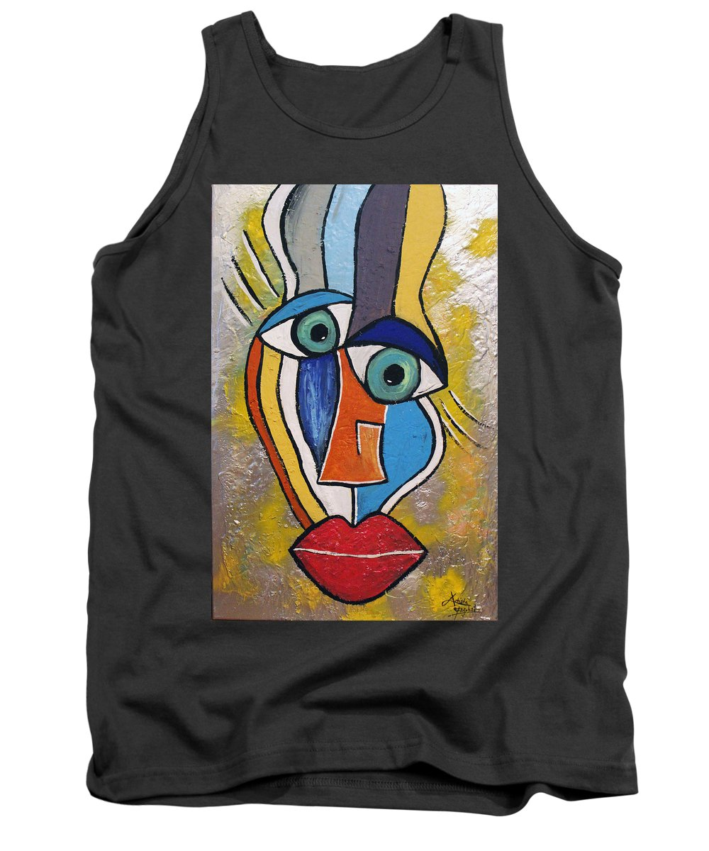 Face Tank Top featuring the mixed media Sunny Face by Artista Elisabet
