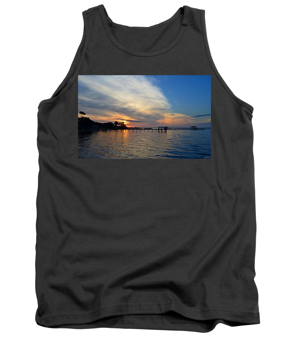 Sunrise Tank Top featuring the photograph Sunrise Colors With Red Sky At Morning Sailor's Warning by Jeff at JSJ Photography