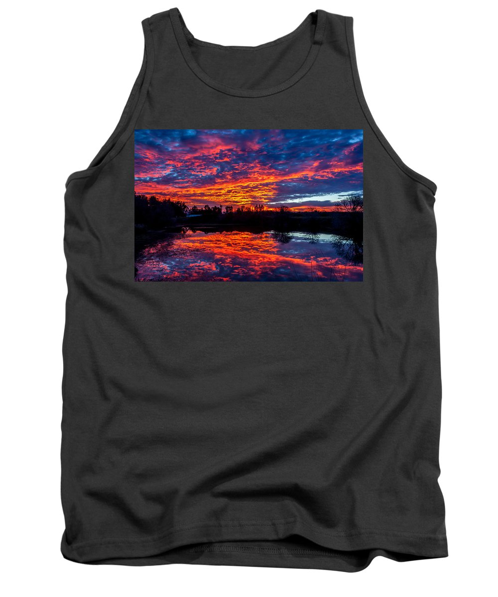 Sunrise Tank Top featuring the photograph Sunrise On The Fishing Hole by David Barile