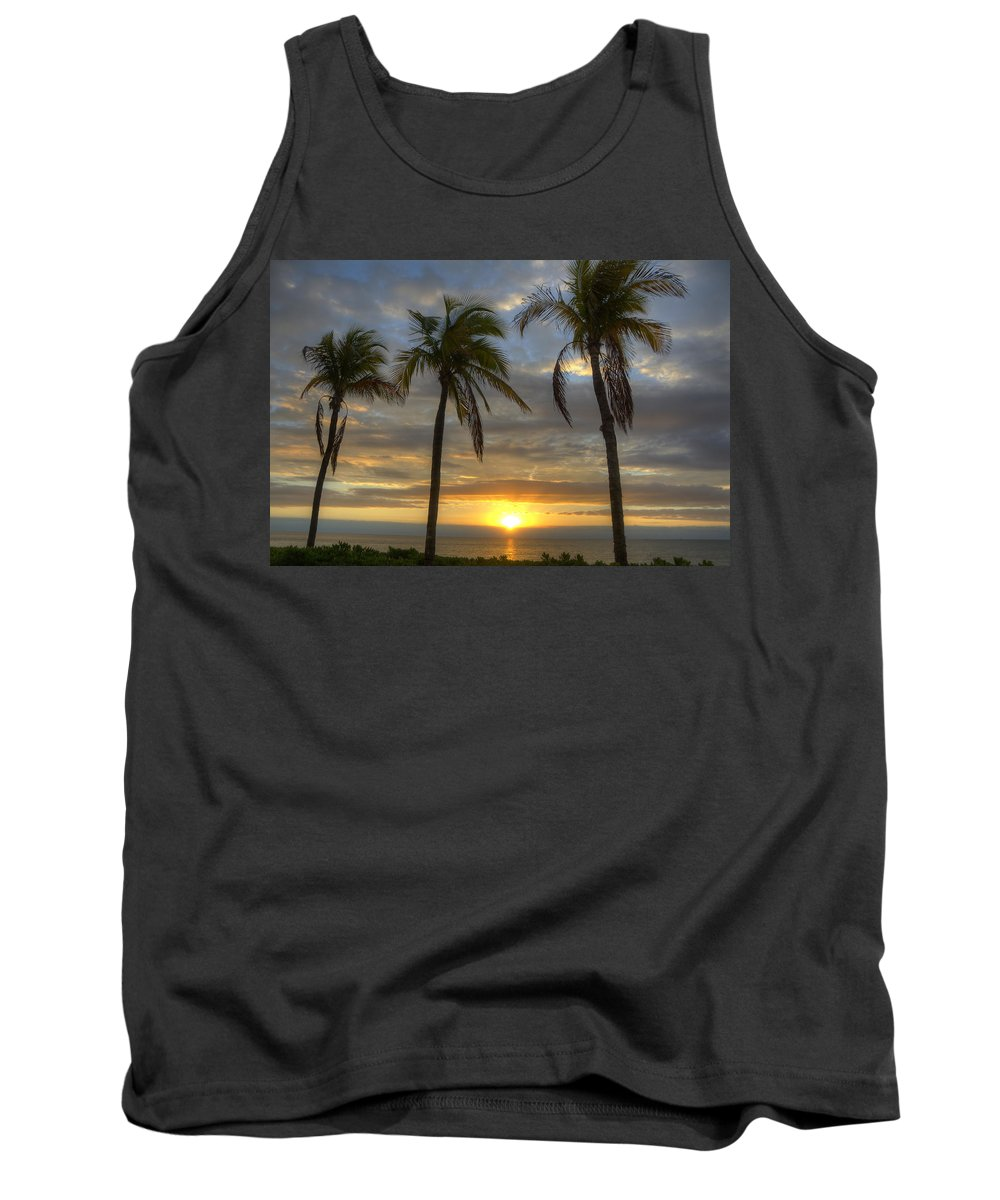 Sunrise Tank Top featuring the photograph Sunrise Palms by Donna Doherty