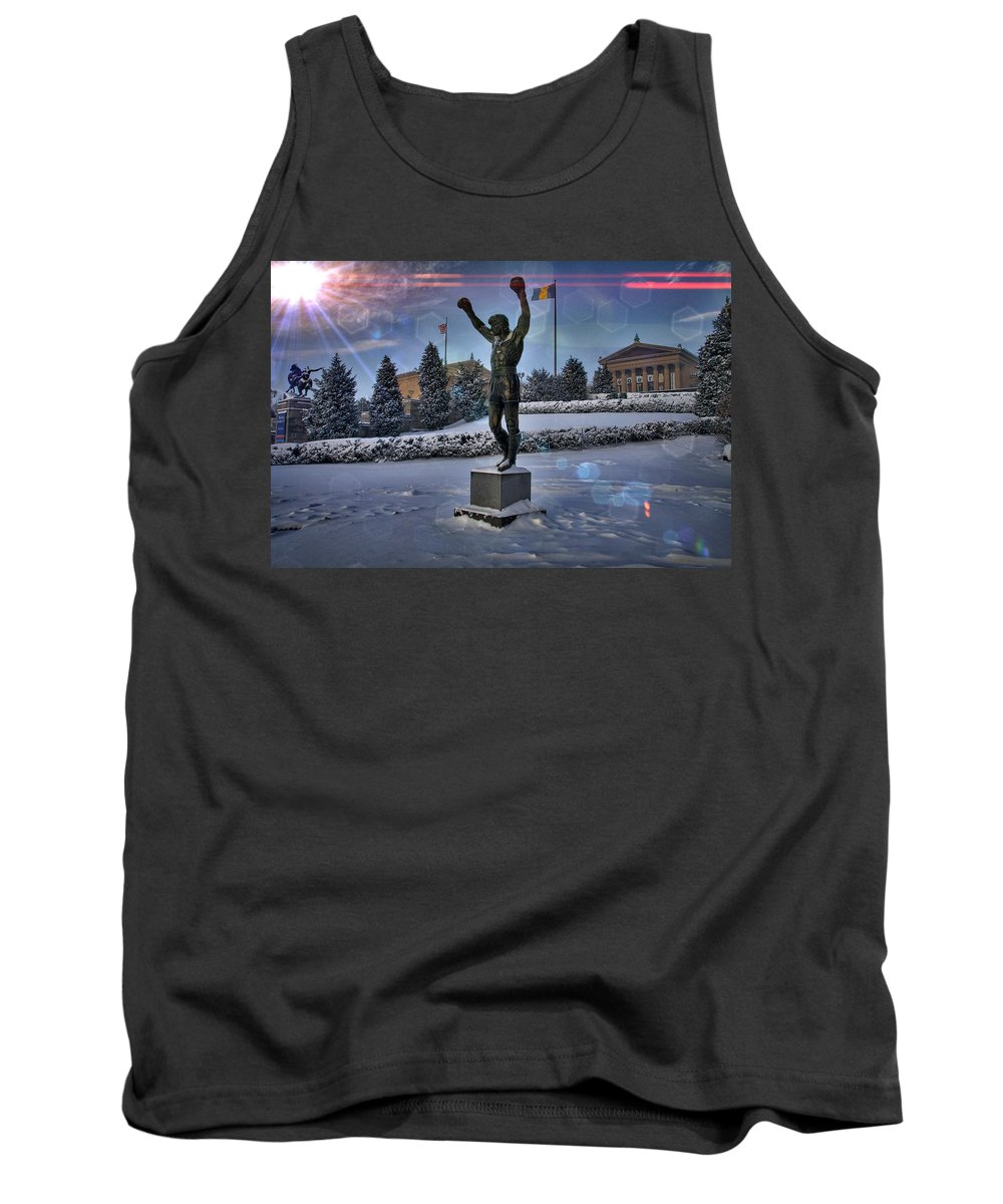 Rocky Statue Tank Top featuring the photograph Sunrise Rocky Flared by Alice Gipson