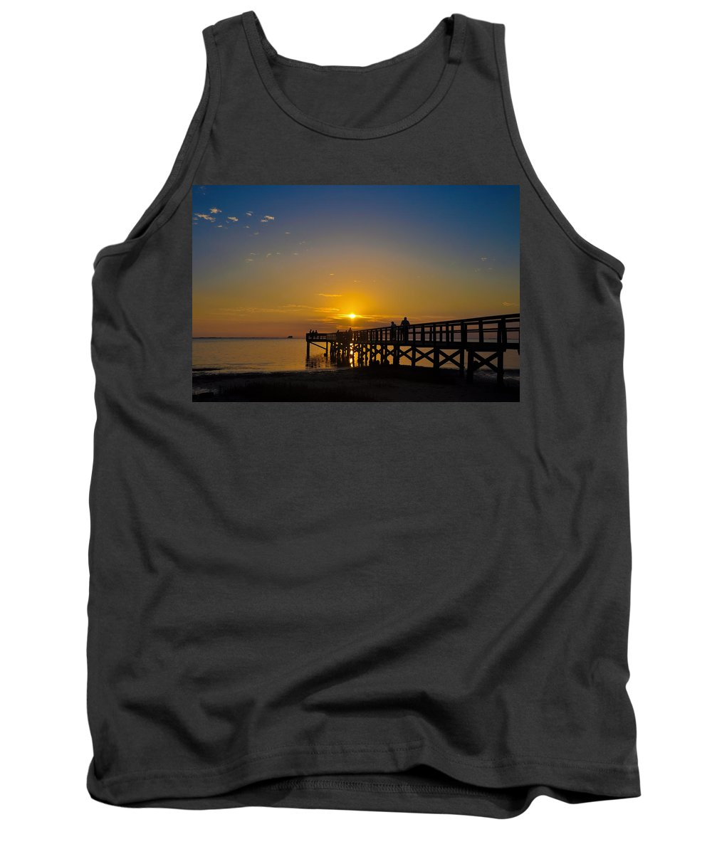 Sunset Tank Top featuring the photograph Sunset At Crystal Beach Pier by Bill Cannon