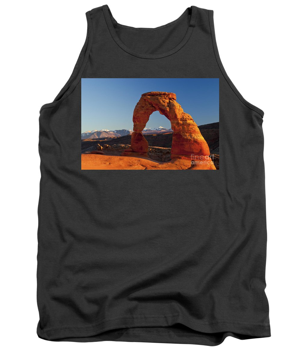 Delicate Arch Tank Top featuring the photograph Sunset At Delicate Arch by Bob Phillips