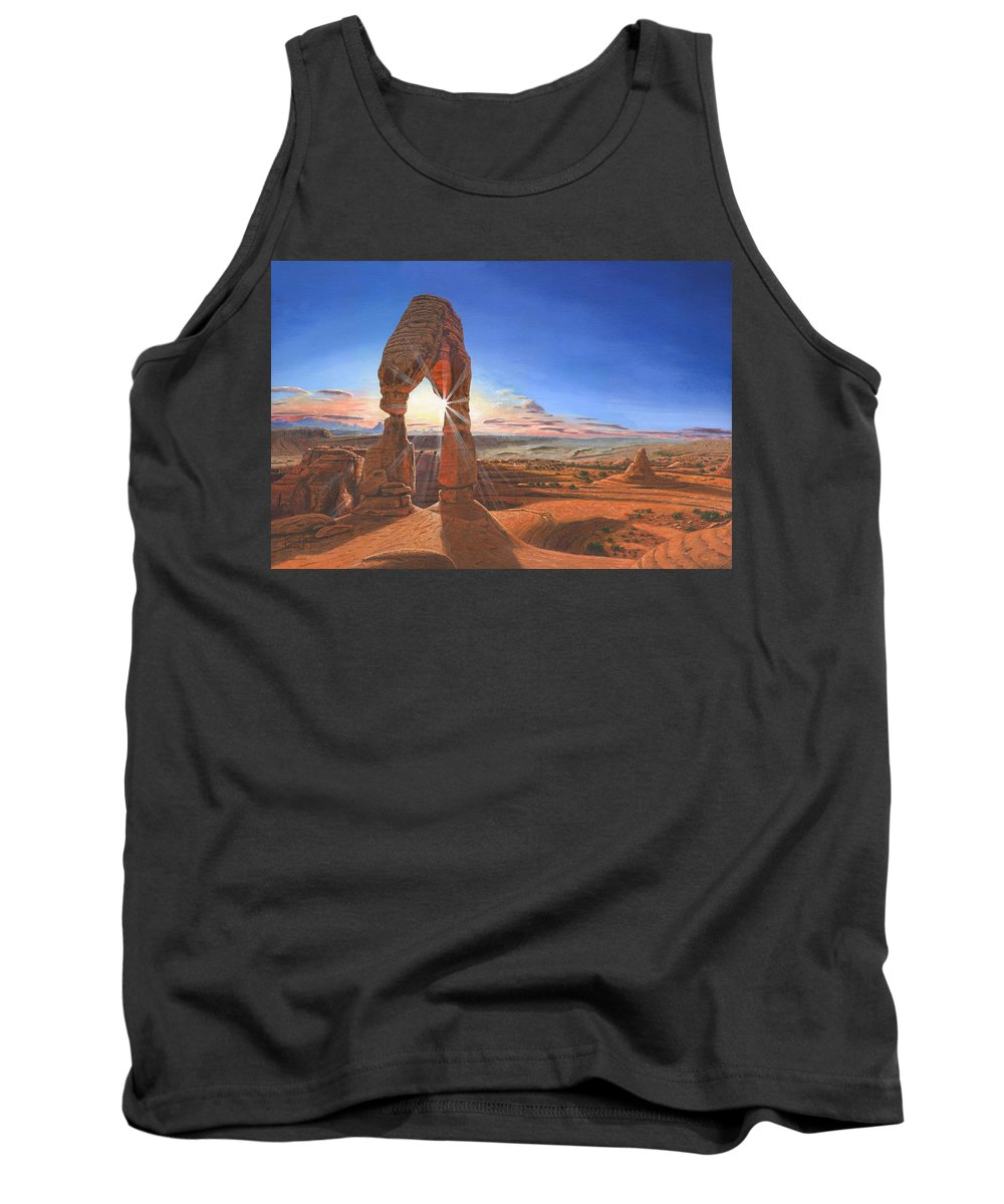 Delicate Arch Tank Top featuring the painting Sunset At Delicate Arch Utah by Richard Harpum