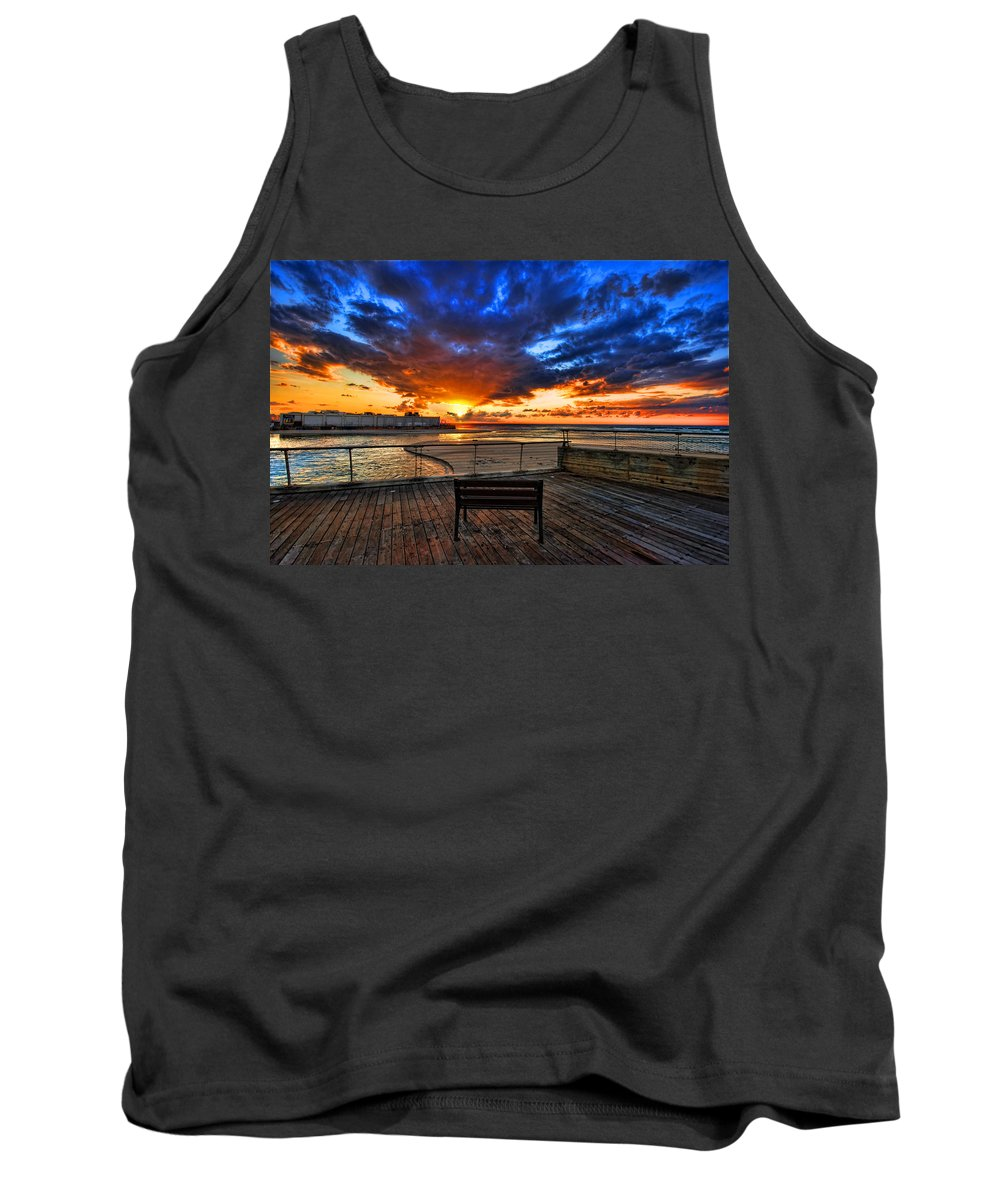 Israel Tank Top featuring the photograph sunset at the port of Tel Aviv by Ron Shoshani