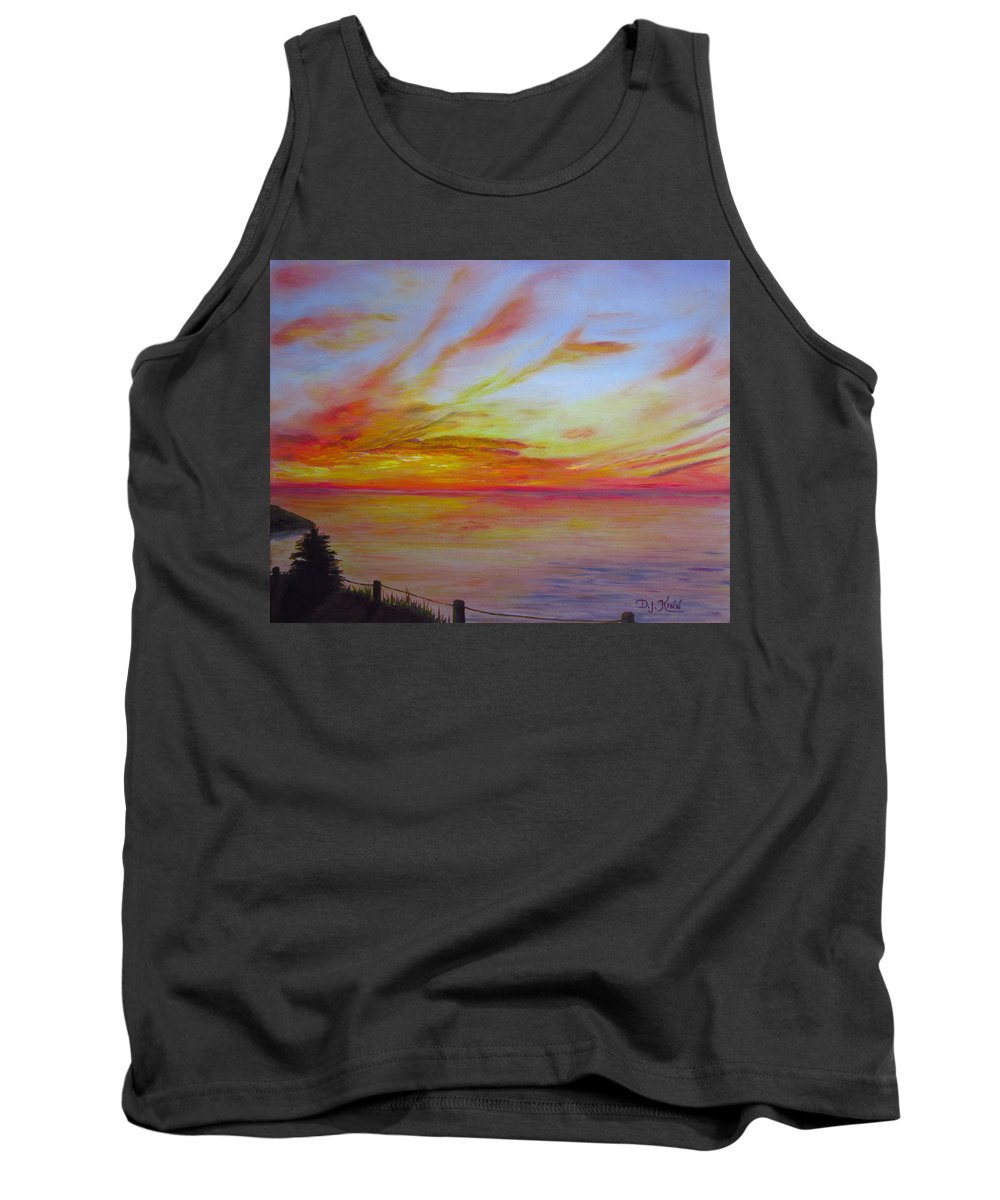 Sunset On Water Prints Tank Top featuring the painting Sunset I by Dottie Kinn
