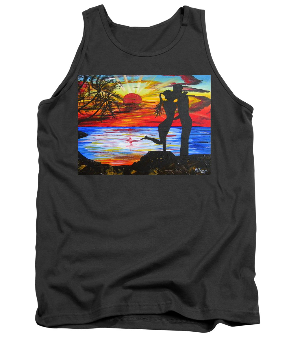 Sunset Tank Top featuring the painting Sunset Kiss by Eric Johansen