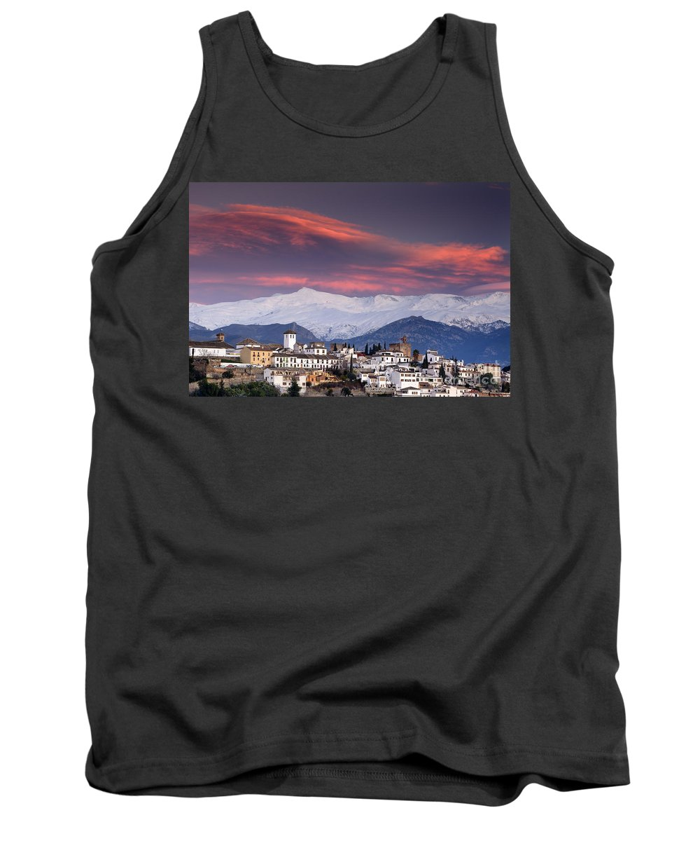 Sunset Tank Top featuring the photograph Sunset Over Granada And The Alhambra Castle by Guido Montanes Castillo