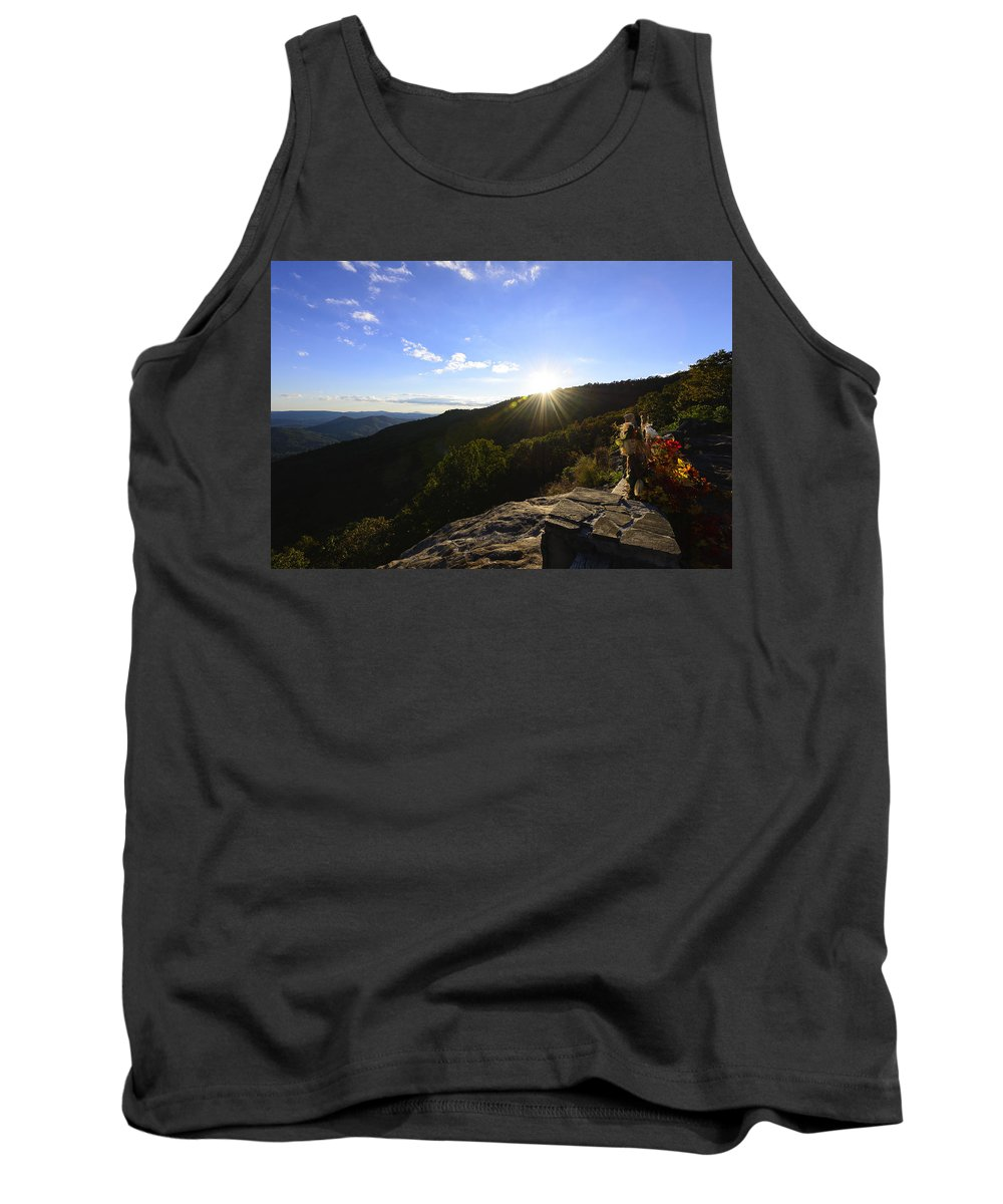 Sunset Tank Top featuring the photograph Sunset Over Halloween Decorations On Black Rock Mountain by Steve Samples