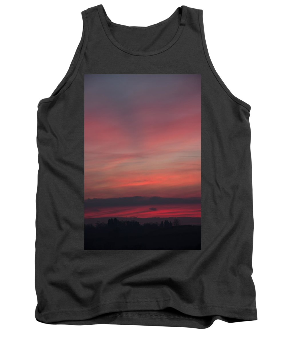 Sunset Tank Top featuring the photograph Sunset Over Shustoke by Kathryn Bell