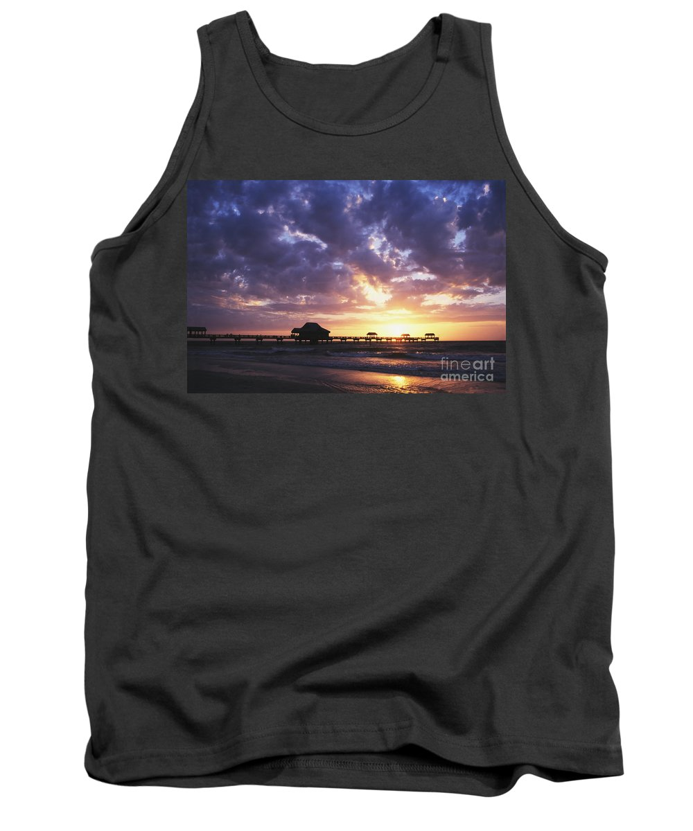 Dawn Tank Top featuring the photograph Sunset Pier 66 by David Davis