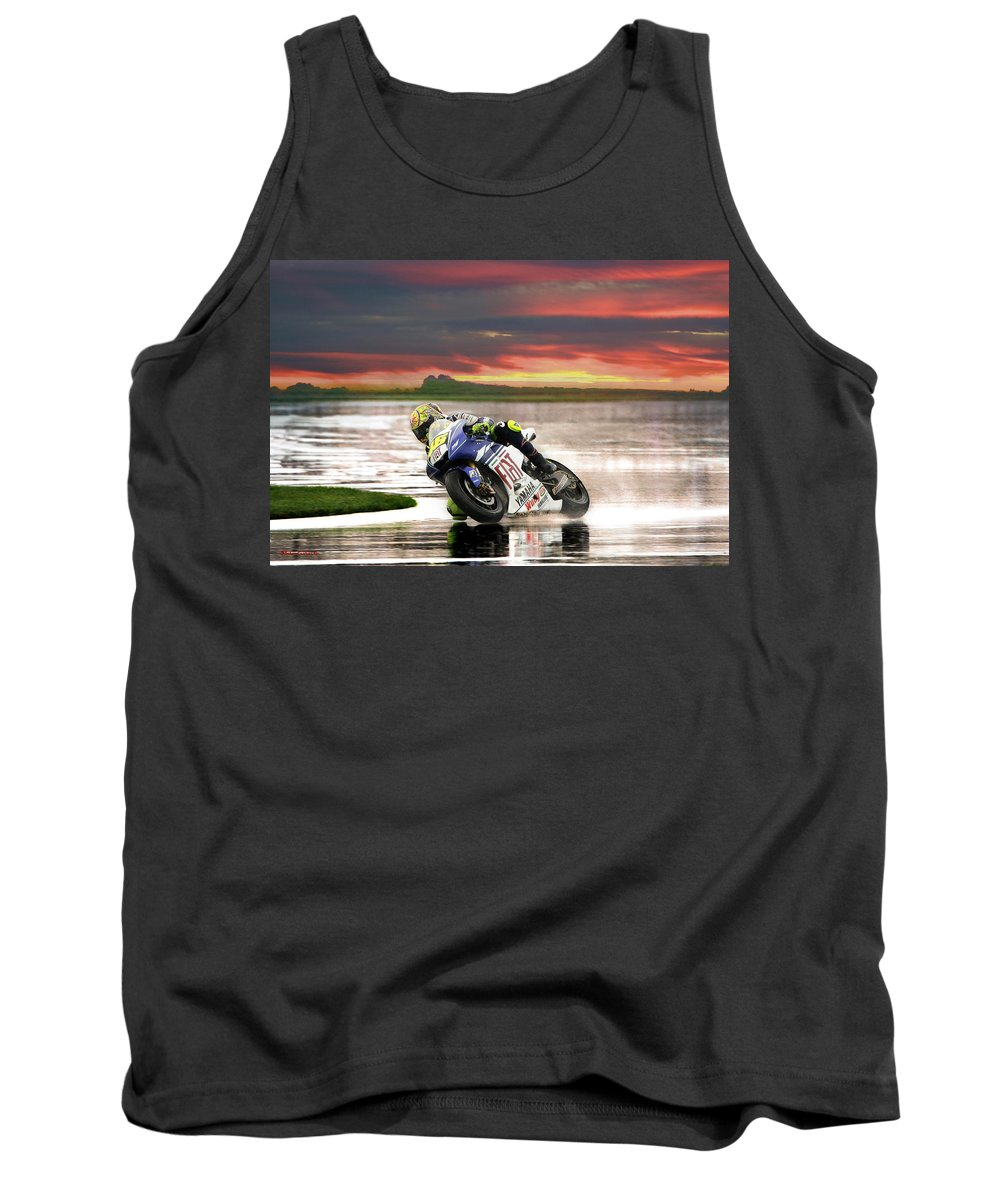 Valentino Rossi Tank Top featuring the photograph Sunset Rossi by Blake Richards