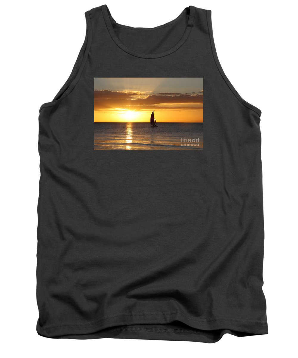 Sailing Tank Top featuring the photograph Sunset Sailing by Christiane Schulze Art And Photography