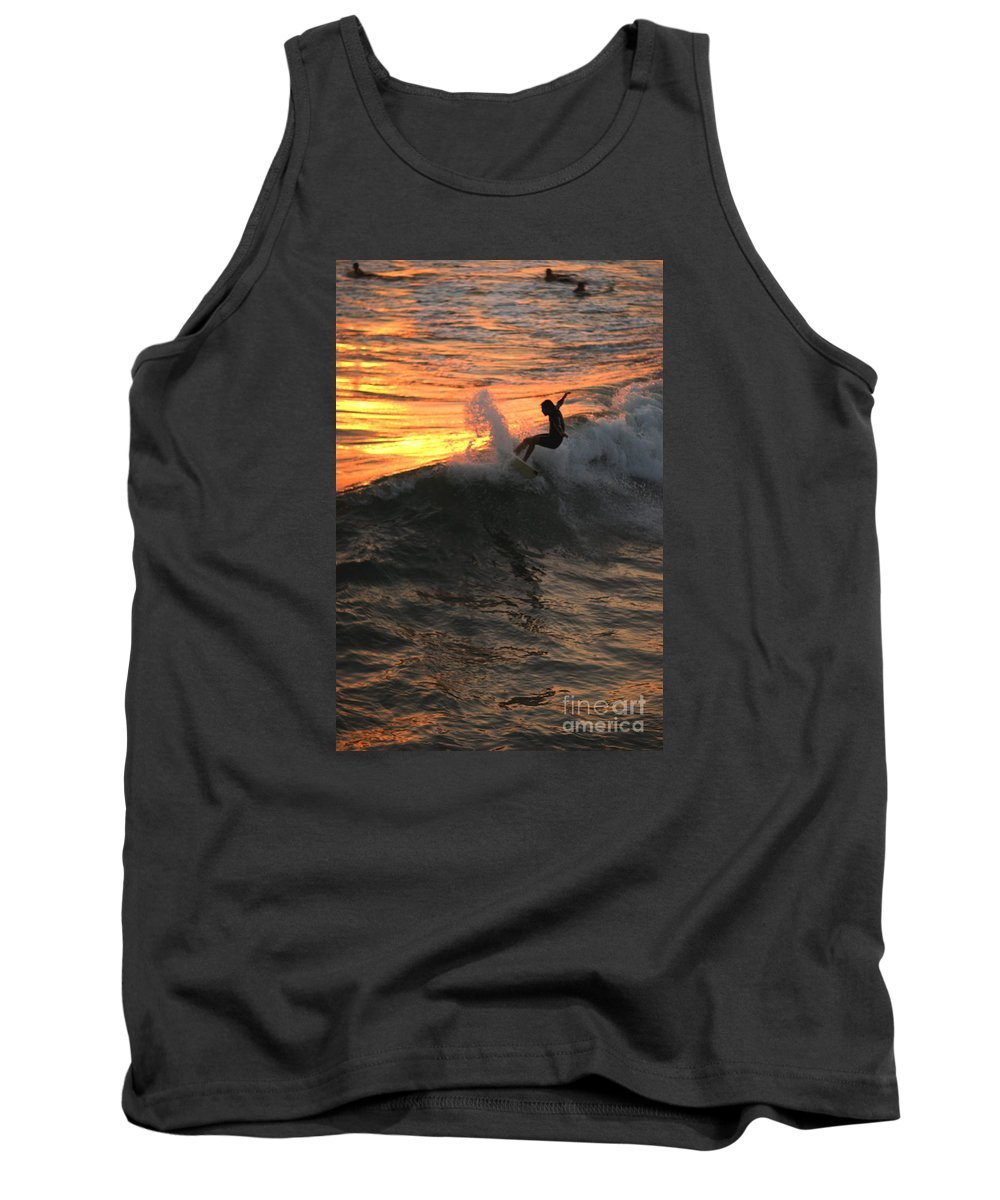 Landscapes Tank Top featuring the photograph Sunset Surfers by John F Tsumas