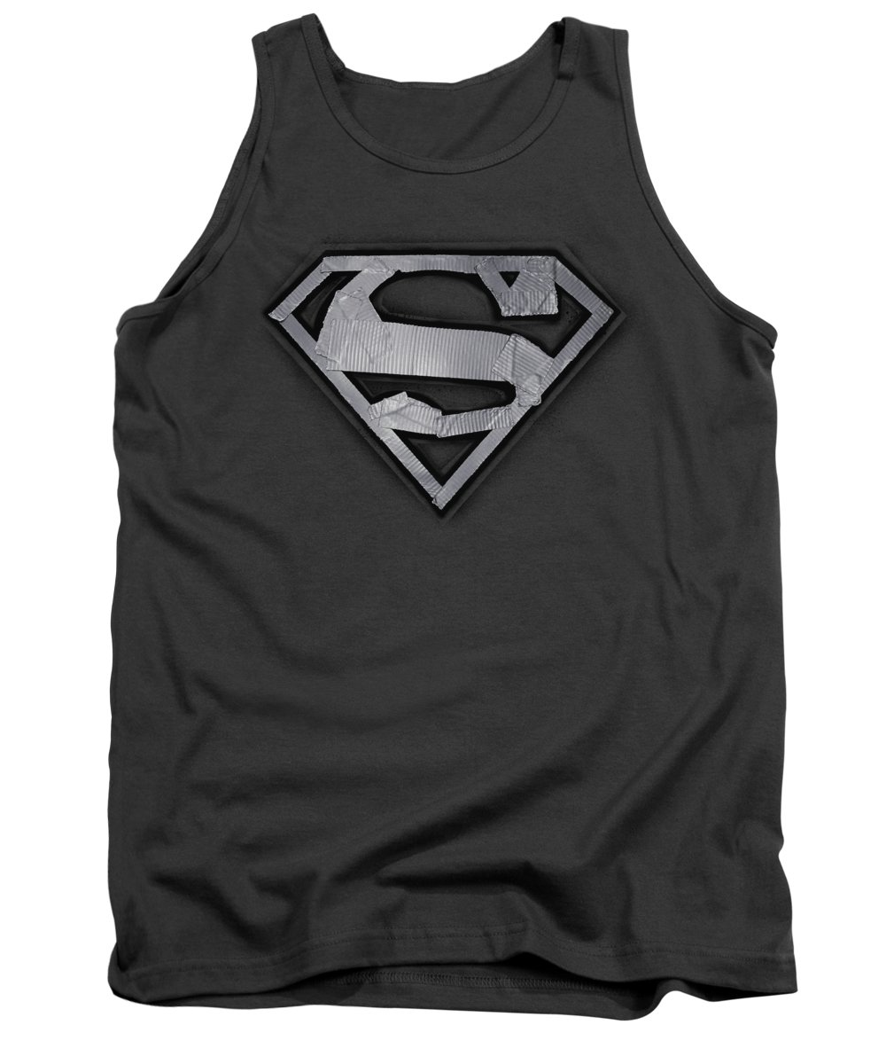 Superman Tank Top featuring the digital art Superman - Duct Tape Shield by Brand A