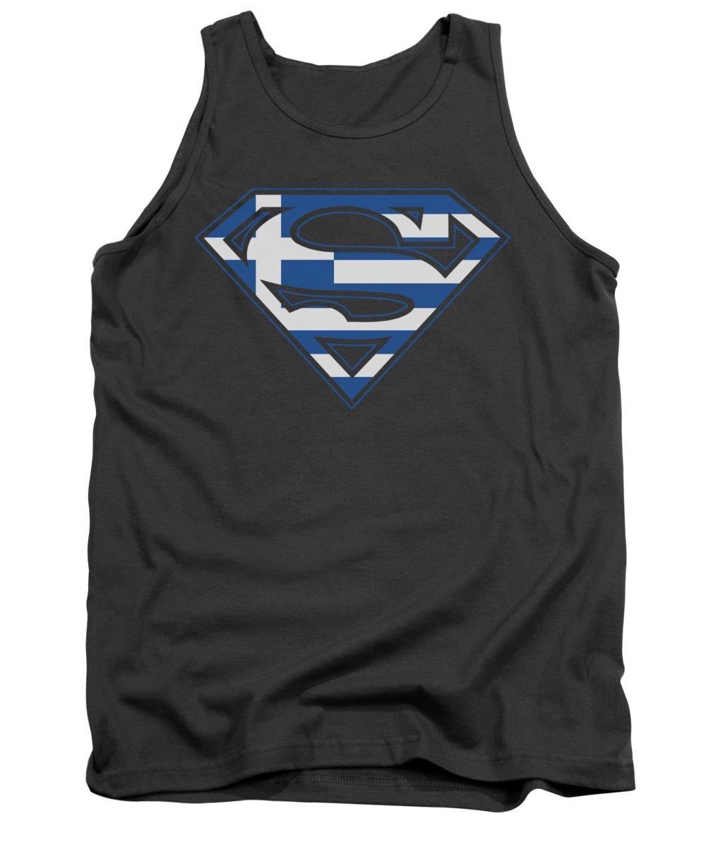 Superman Tank Top featuring the digital art Superman - Greek Shield by Brand A