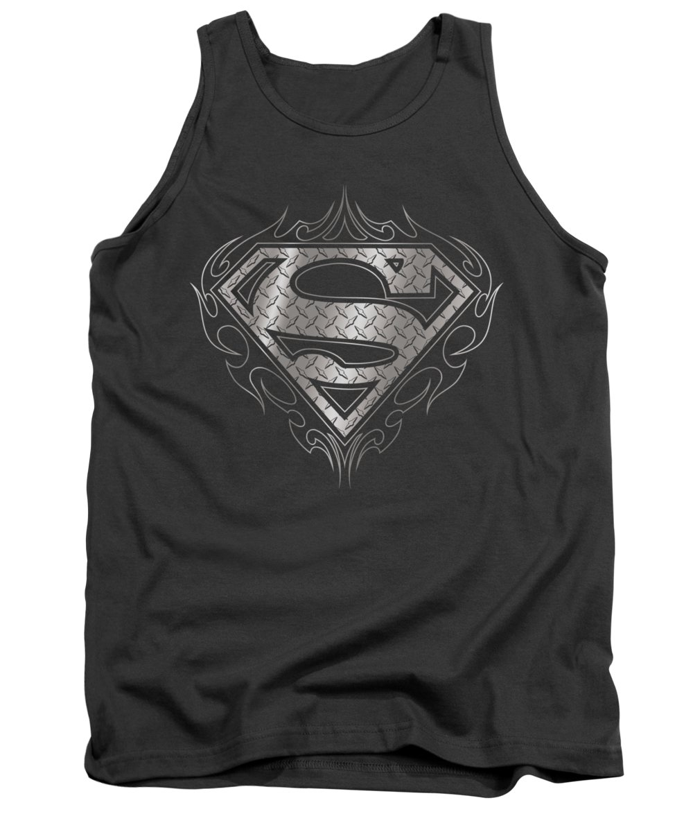 Superman Tank Top featuring the digital art Superman - Tribal Steel Logo by Brand A