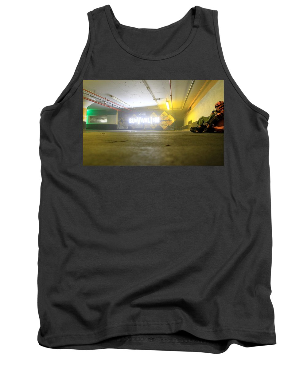 Survival Tank Top featuring the photograph Survivalism Sign by Valentino Visentini