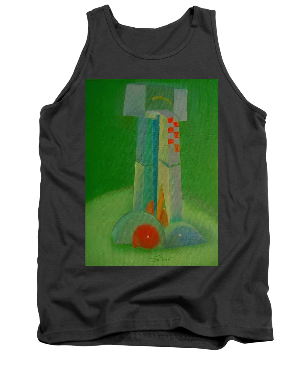 Cubist View Of Figure Tank Top featuring the painting Survivors by Charles Stuart