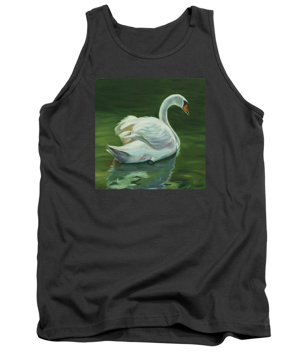 Swan Tank Top featuring the painting 'swanderful by Jill Ciccone Pike