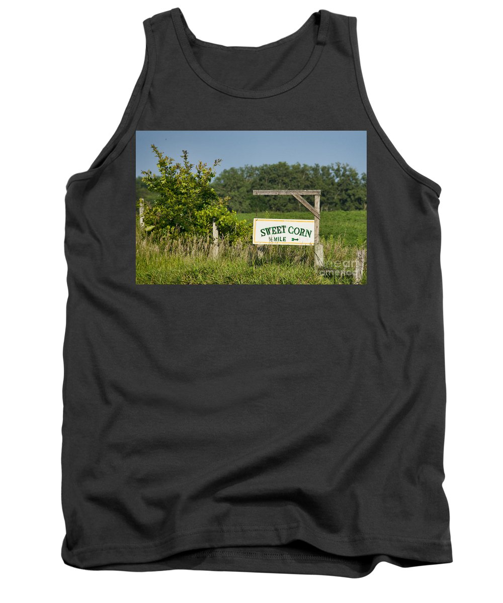 Sign Tank Top featuring the photograph Sweet Corn by David Arment