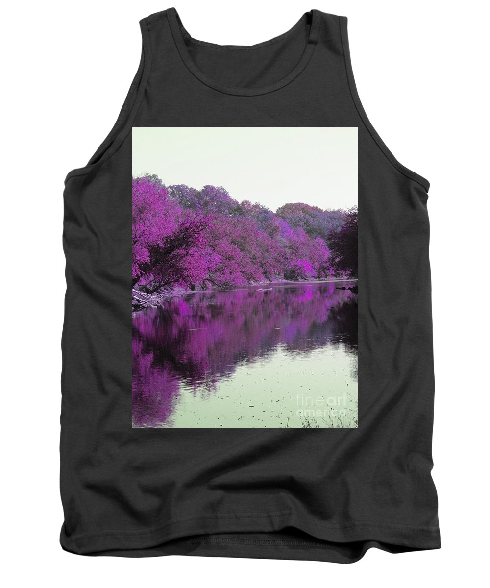 Reflection Tank Top featuring the digital art Sweet Fall Reflections by Minding My Visions by Adri and Ray