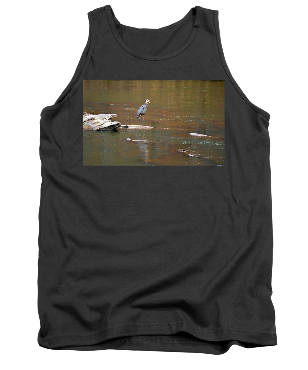 Sweetwater Creek State Park Tank Top featuring the photograph Sweetwater Creek Heron by Tara Potts