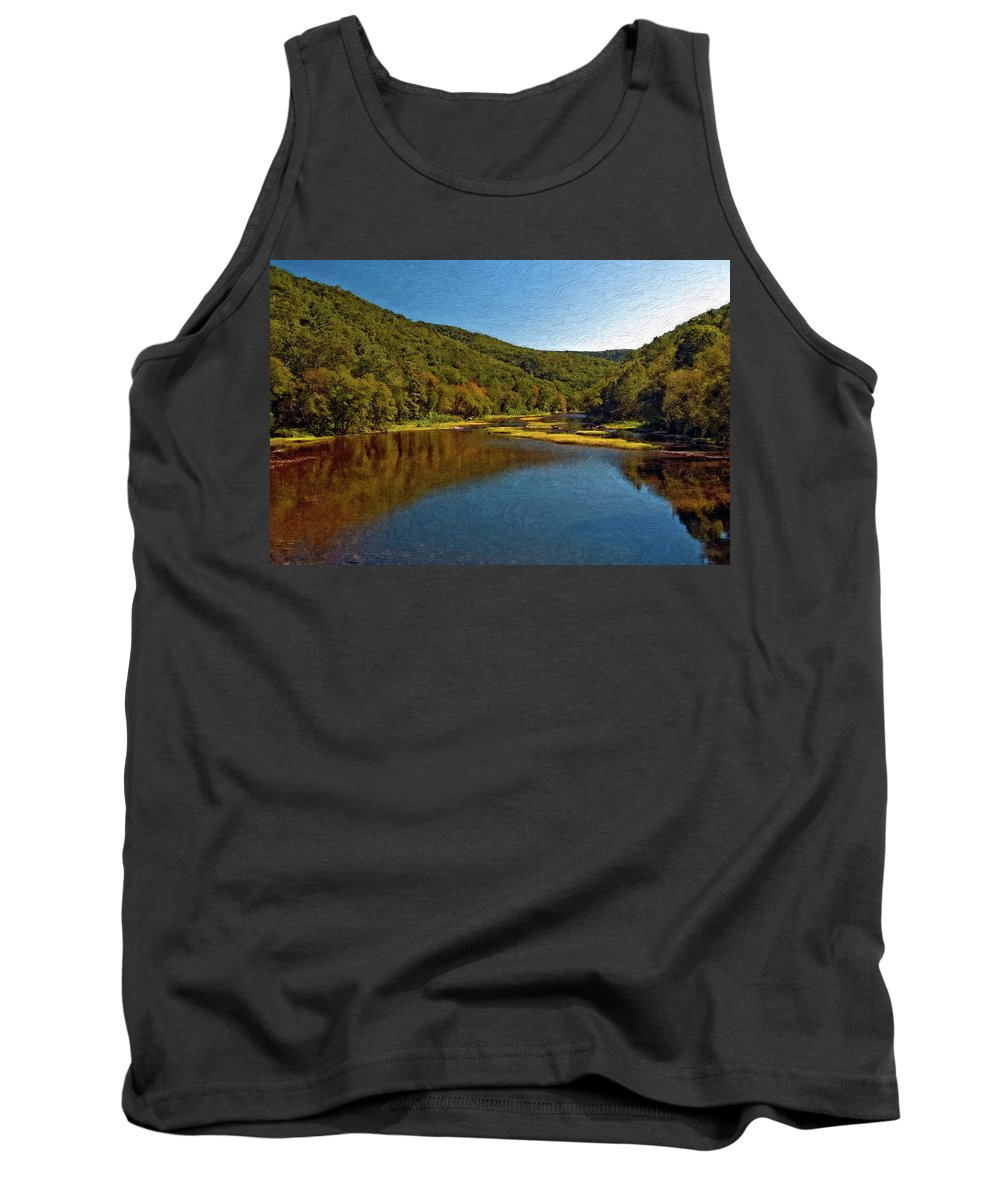 New River Tank Top featuring the photograph Swimming Hole Impasto by Steve Harrington