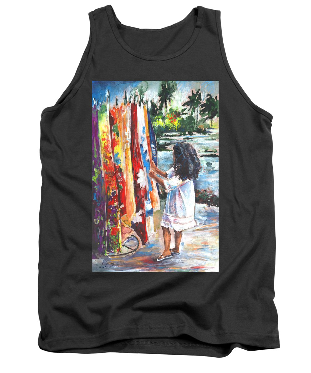 Travel Tank Top featuring the painting Tahitian Girl With Pareos by Miki De Goodaboom