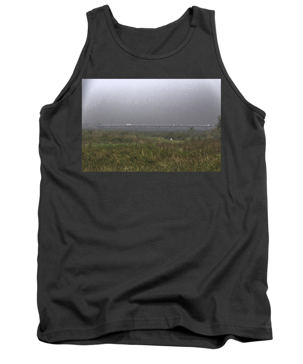 Bird Sanctuary Tank Top featuring the digital art Tall Grass And View Of Bridge by Ashish Agarwal