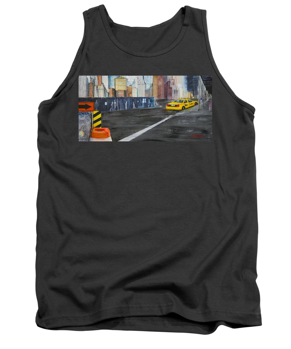 Taxi Tank Top featuring the painting Taxi 9 Nyc Under Construction by Jack Diamond