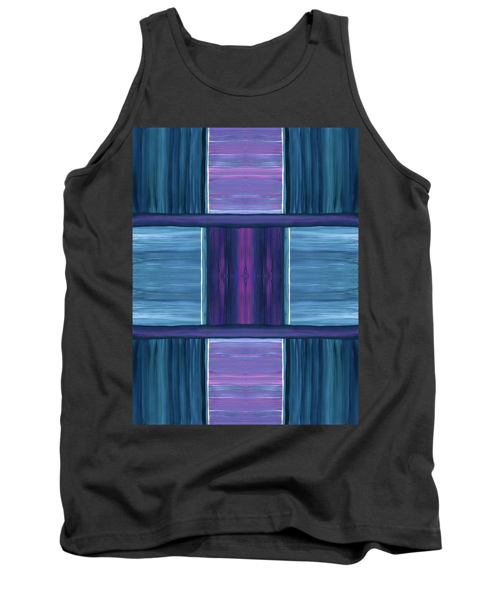 Teal Square Dreams Tank Top featuring the painting Teal Square Dreams by Barbara St Jean