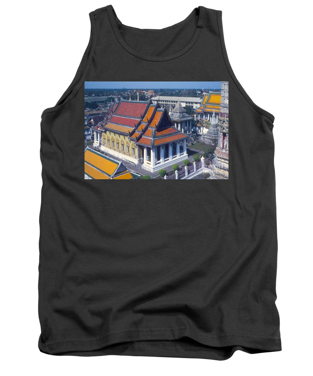 Temple Of Dawn Wat Arun Temple Of The Rising Sun Temples Spire Spires Tower Towers Landmarks Place Places Of Worship Structure Structures Building Buildings Architecture Bangkok Thailand Tank Top featuring the photograph Temple Of Dawn by Bob Phillips