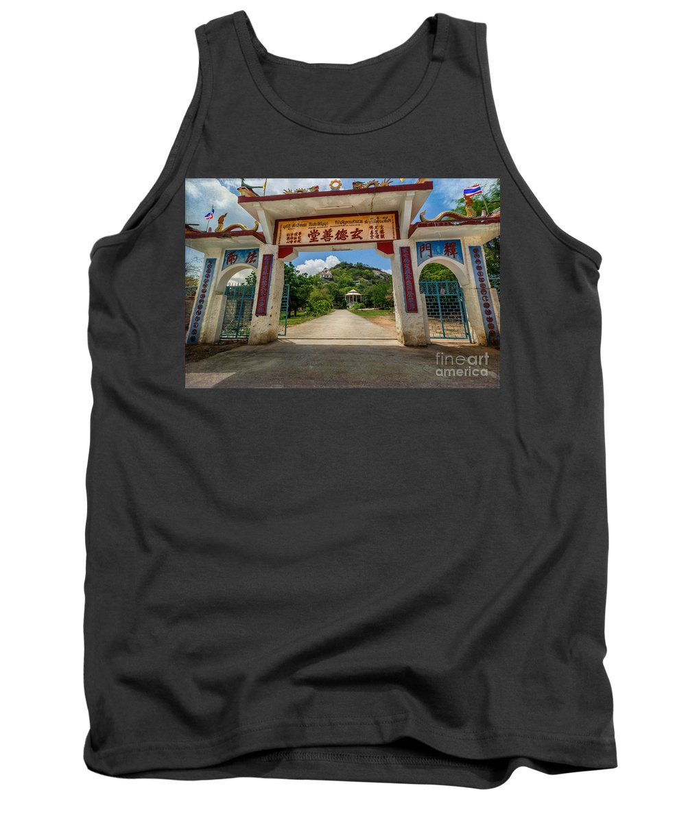 Chinese Temple Tank Top featuring the photograph Temple On The Hill by Adrian Evans