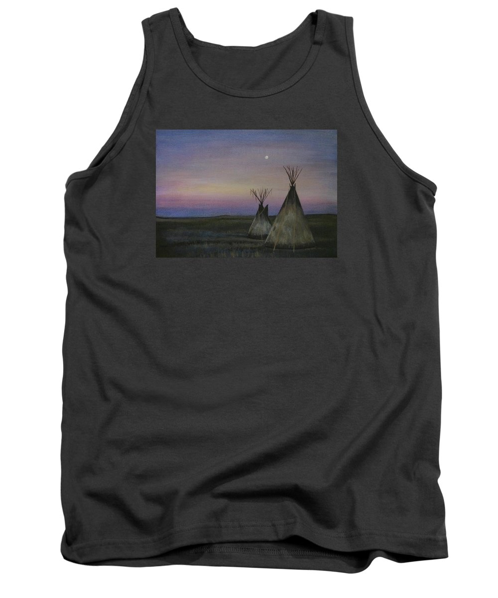 Tepee Tank Top featuring the painting Teepees by Lucy Deane