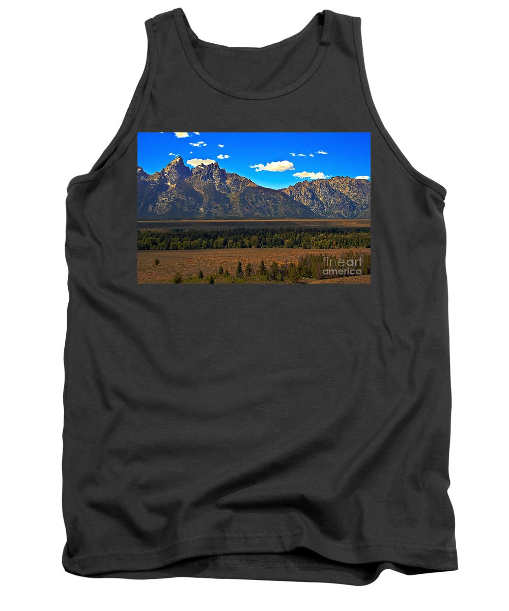 Sunrise Tank Top featuring the photograph Tetons Mountians by Robert Bales