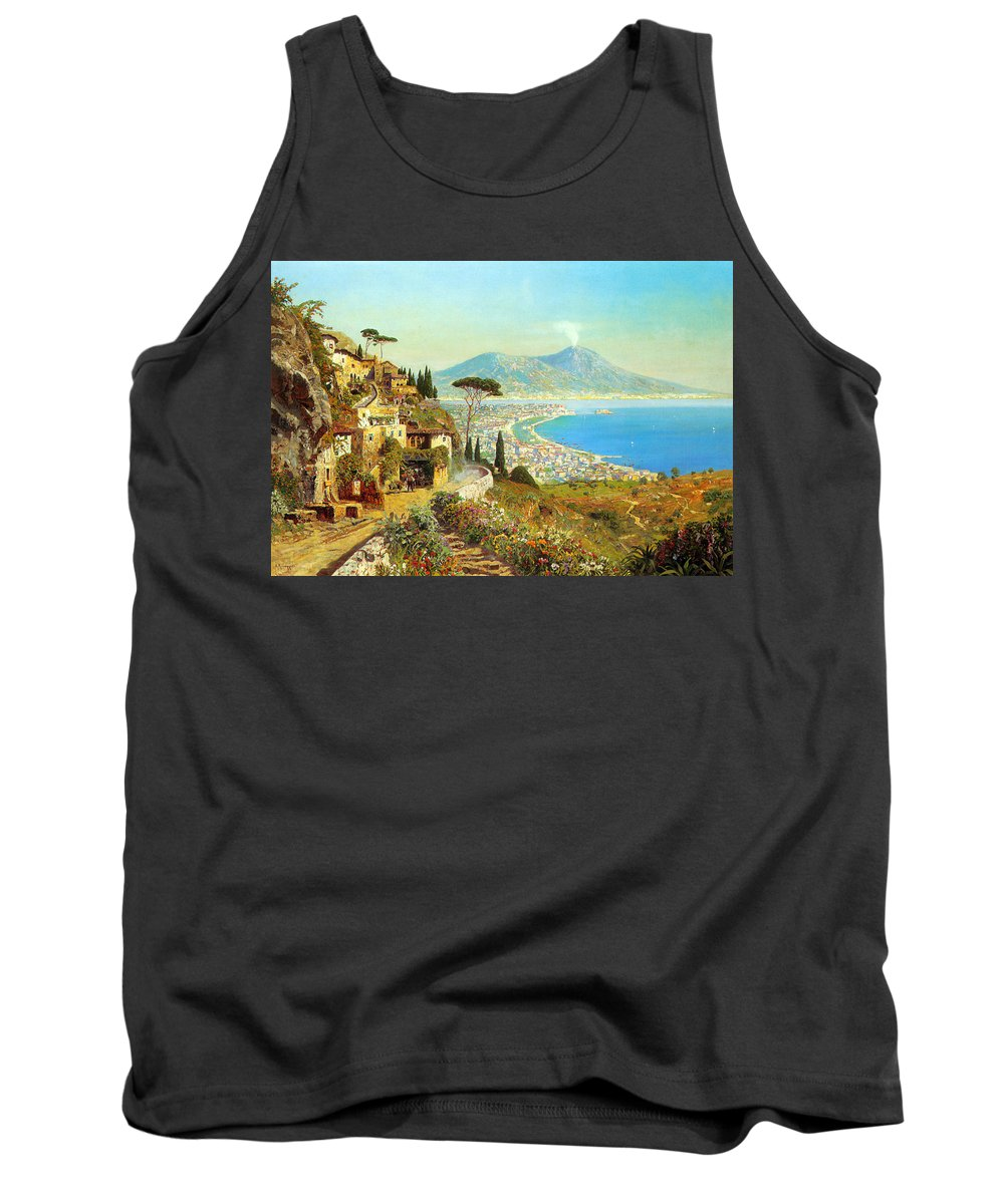 The Bay Of Naples Tank Top featuring the digital art The Bay Of Naples by Alois Arnegger