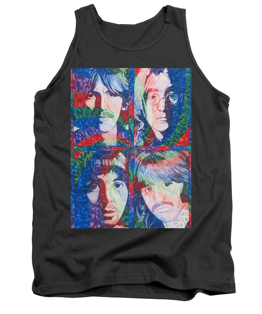 The Beatles Tank Top featuring the drawing The Beatles Squared by Joshua Morton