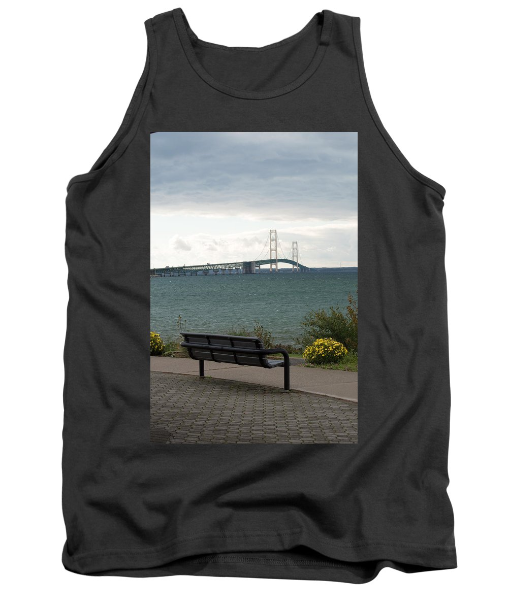 Clouds Tank Top featuring the photograph The Bench by Linda Kerkau