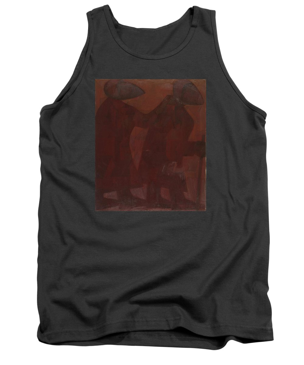 The Blind Men Tank Top featuring the painting The Blind Men by Israel Tsvaygenbaum