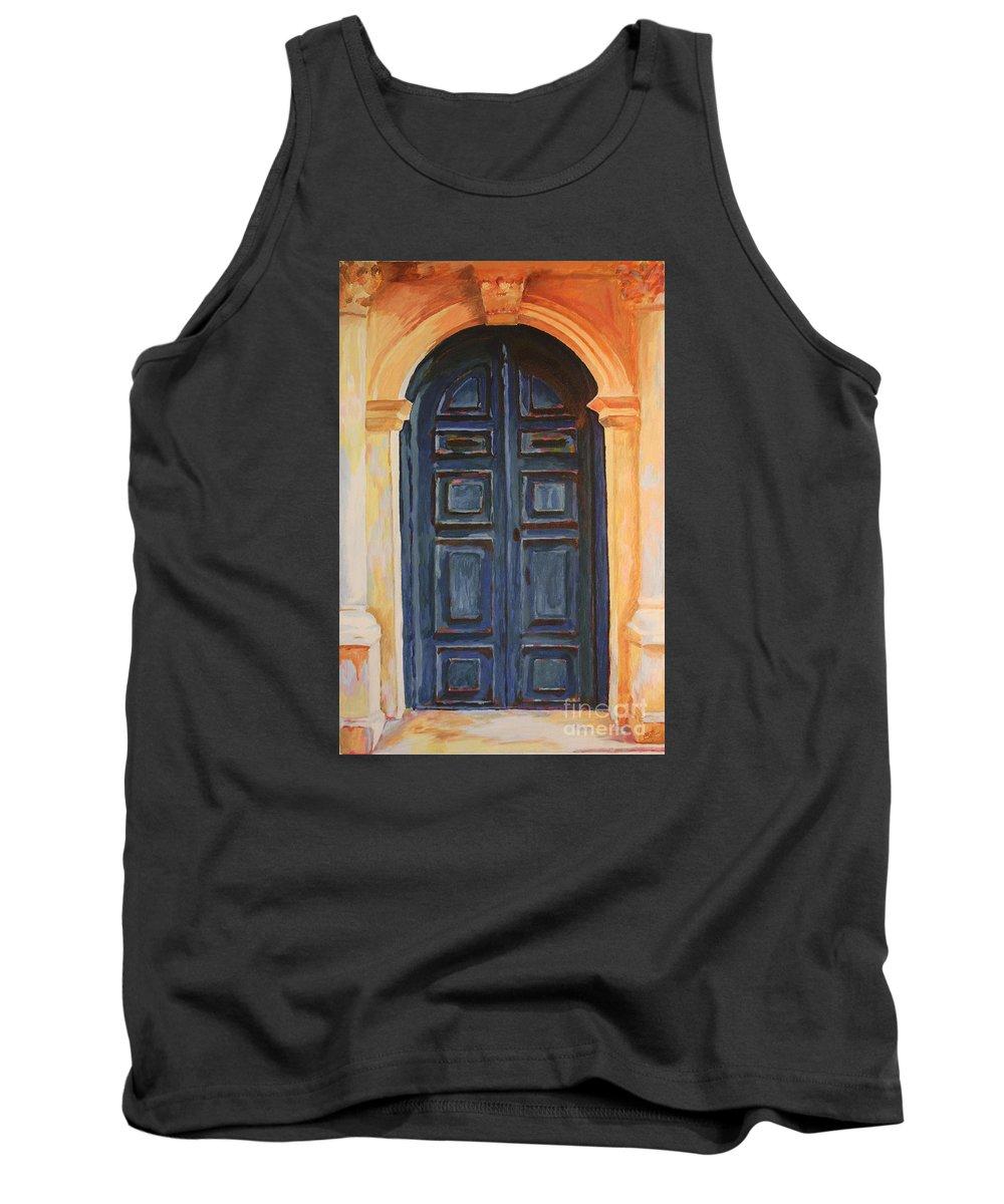 Blue Door Tank Top featuring the painting The Blue Door Venice by Christine Dekkers